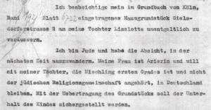Auszug aus dem Brief mit dem Antrag, das Haus auf die Tochter übertragen zu dürfen. Der Antrag wurde abgelehnt.